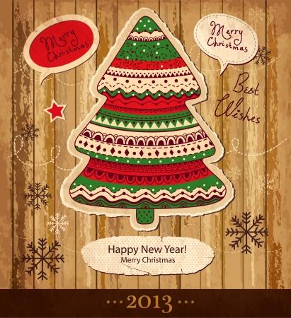 Vintage Cartolina di Natale vettoriale con albero di Natale Archivio Fotografico - 15646216