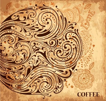 텍스처와 빈티지 벡터 커피 배경