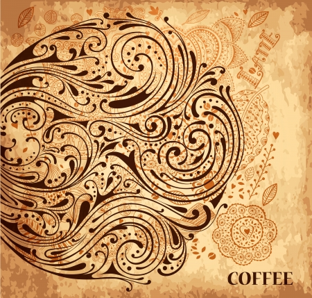 Vintage vector coffee background with texture