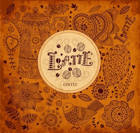 chicchi di caff�: Vintage vettore sfondo caff� Vettoriali