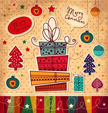 선물 상자 빈티지 크리스마스 카드 일러스트