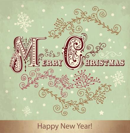 Vintage Christmas card Stock Vector - 15629368