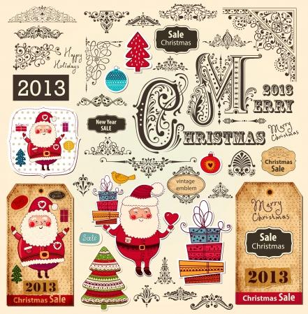 크리스마스 장식품과 디자인 요소의 벡터 설정