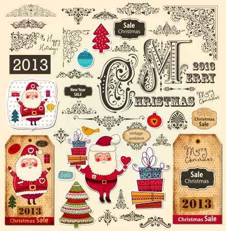 christmas x mas: Vector set of Christmas Ornaments and Design Elements