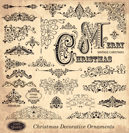 christmas border: ector set of Christmas Ornaments and Design Elements