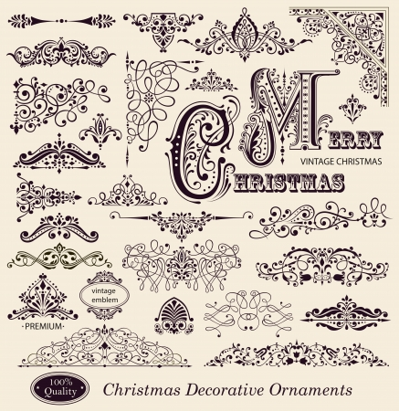 Vector set of Christmas Ornaments and Design Elements Vector