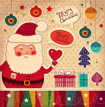 christmas holiday background: Christmas illustration with funny Santa Claus