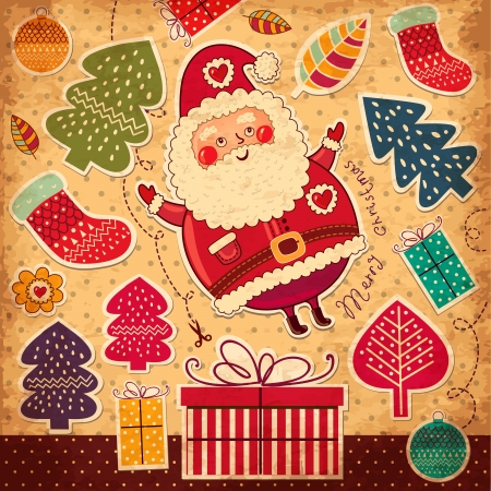 Christmas illustration with funny Santa Claus Фото со стока - 15646221