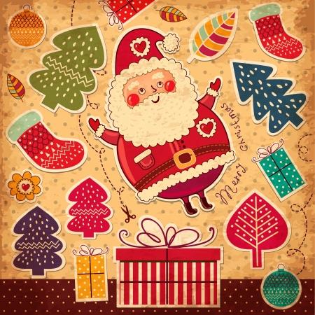 Illustrazione di Natale con Babbo Natale divertente Archivio Fotografico - 15646221