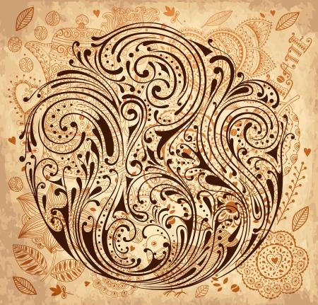 dibujo vintage: Fondo de la vendimia con textura