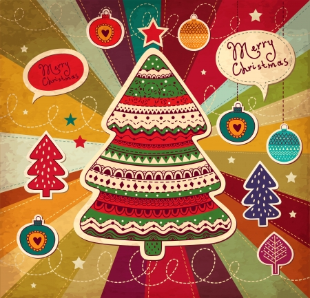 christmas x mas: Vintage illustration with Christmas tree Illustration