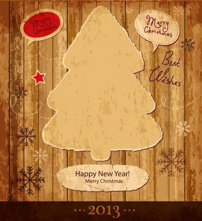 greeting card invitation wallpaper: Vintage illustration with Christmas tree Illustration