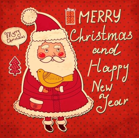 재미있는 산타 클로스와 크리스마스 그림 일러스트