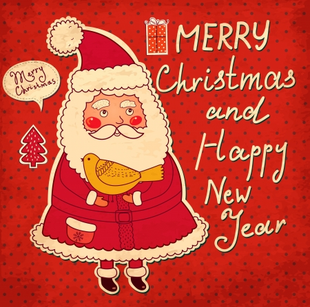christmas x mas: Christmas illustration with funny Santa Claus
