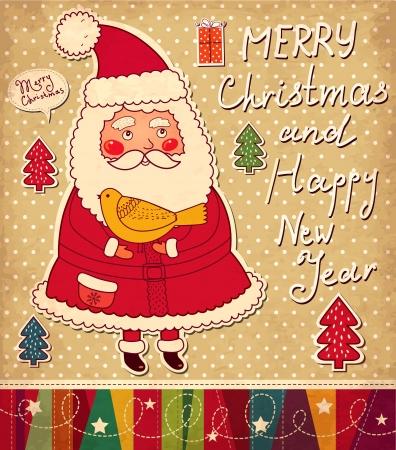 cartoon christmas tree: Christmas illustration with funny Santa Claus