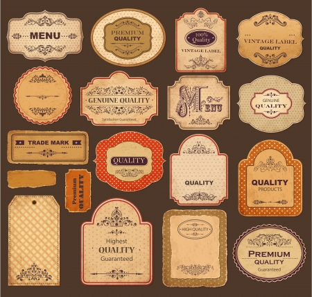 Set of vintage labels with old papers and ornaments Illustration
