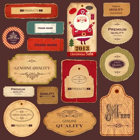 Set di etichette vintage con vecchie carte e ornamenti Archivio Fotografico - 15646238