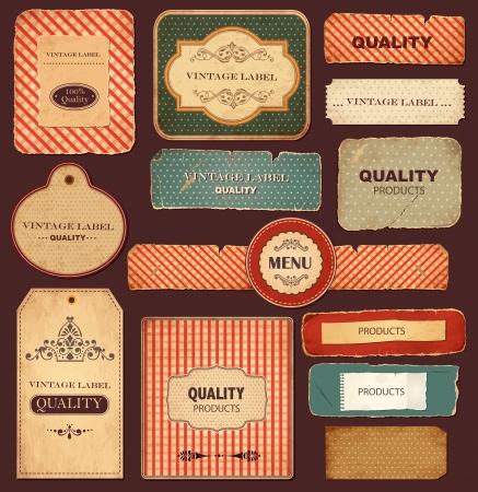 Jeu d'étiquettes vintage avec des vieux papiers et ornements Vecteurs