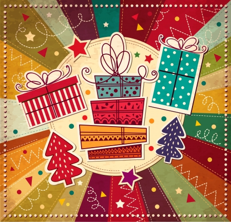 christmas x mas: Christmas card with gift boxes