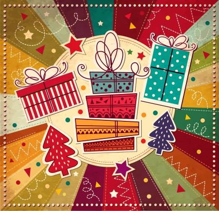 weihnachten vintage: Weihnachtskarte mit Geschenk-Boxen