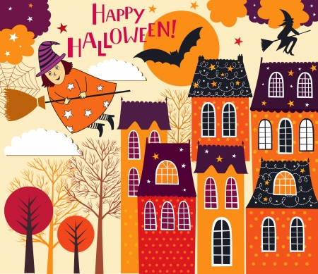 ghost town: Halloween holiday card Illustration