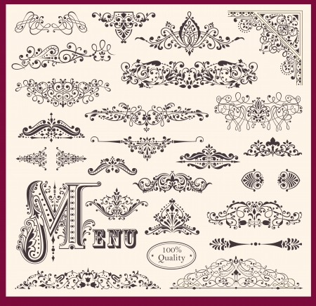 set of Ornaments and Design Elements Vector