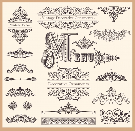 ornament menu: set of Ornaments and Design Elements Illustration