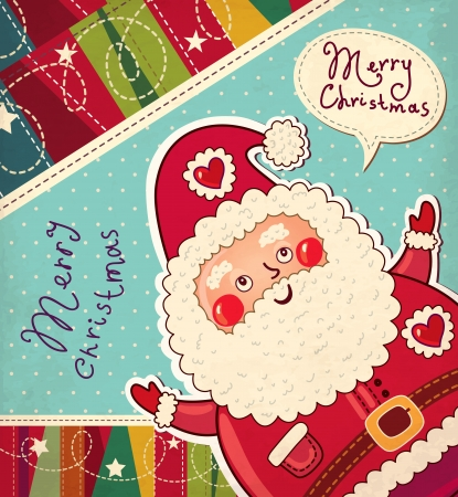 Kerst illustratie met grappige Kerstman Stock Illustratie