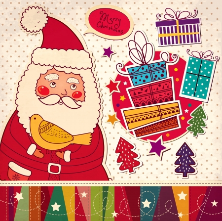x mas party: Christmas illustration with funny Santa Claus