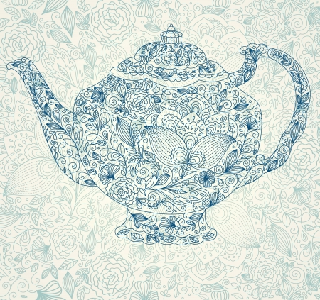 illustration with teapot Vector
