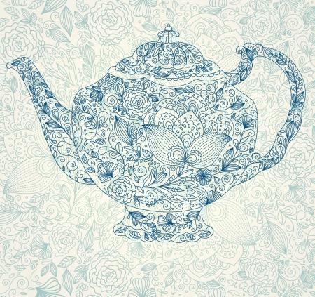 Illustrazione con teiera Archivio Fotografico - 15768339