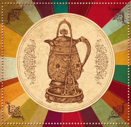 tarde de cafe: Mano café elaborado olla en fondo de la vendimia Vectores