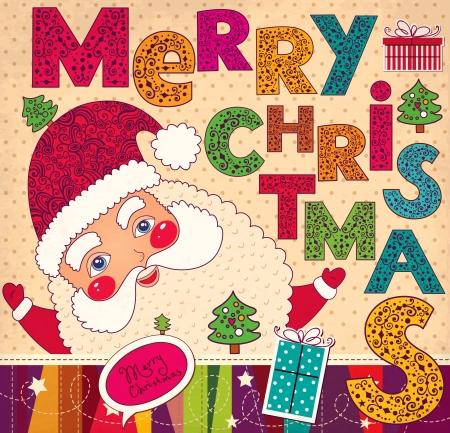 Ilustração do Natal com Papai Noel engraçado