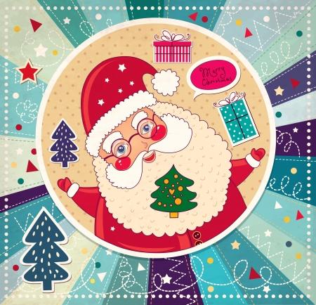 x mas card: Christmas illustration with funny Santa Claus