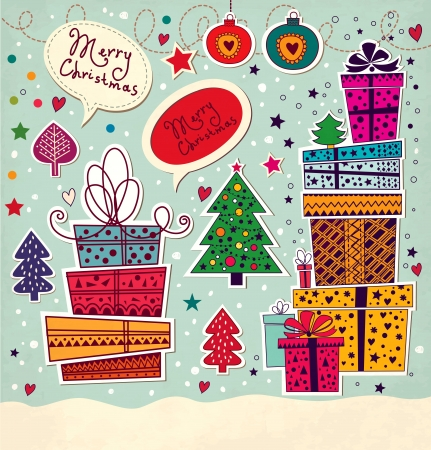 x mas party: Christmas card with gift boxes