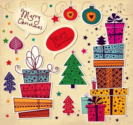Carte de Noël avec les coffrets cadeaux Illustration