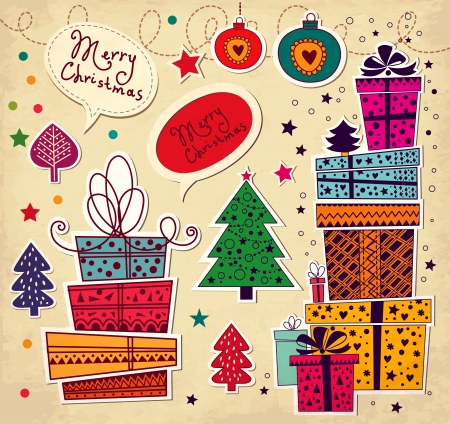gifts: Kerstkaart met geschenk dozen Stock Illustratie