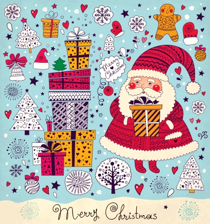 Christmas illustration with funny Santa Claus Vector