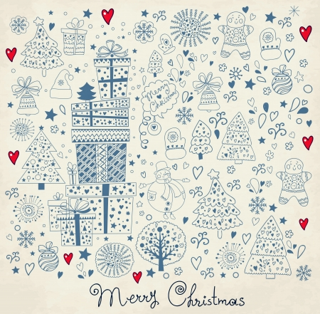 x mas: Christmas set of decorative elements Illustration