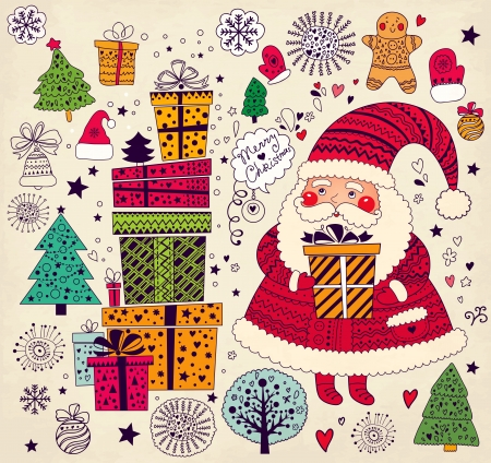 x mas background: Christmas illustration with funny Santa Claus