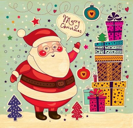 Cartolina di Natale con Babbo Natale Vettoriali