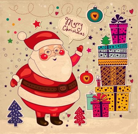 x mas parties: Christmas card with Santa Claus Illustration
