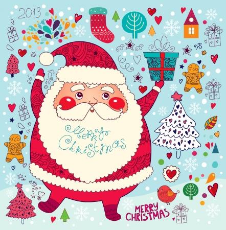 Christmas card with Santa Claus Stock Vector - 16439858