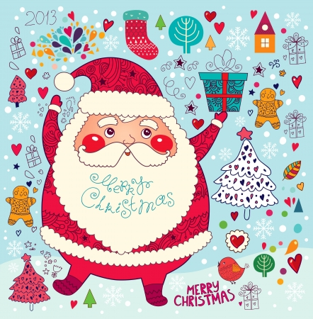Christmas card with Santa Claus Stock Vector - 16439858