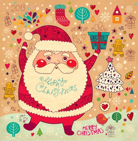 x mas: Christmas card with Santa Claus Illustration
