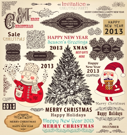 collection of Christmas Ornaments and Decorative Elements  borders, frames, stickers with Santa Claus, Christmas tree Vector