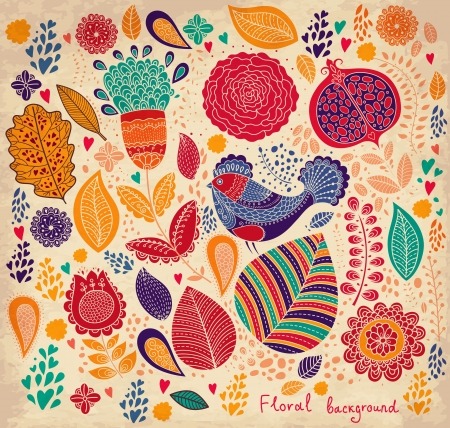 Floral pattern with bird Vector