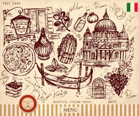 Ceruza kézzel rajzolt jelképek Olaszország