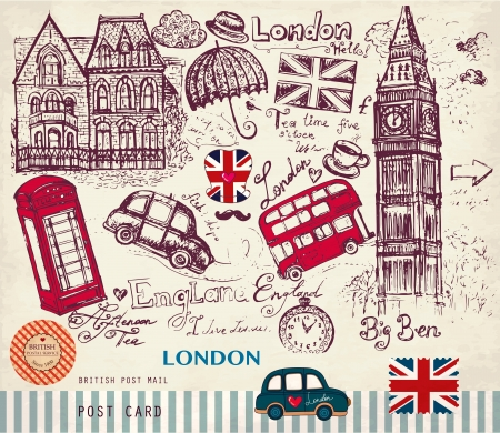 english flag: Vector set of London symbols
