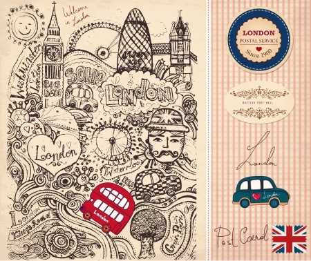 map pencil: Vector set of London symbols